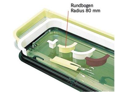Raam afwerking lichtgrijs - ronde boogradius 80 mm