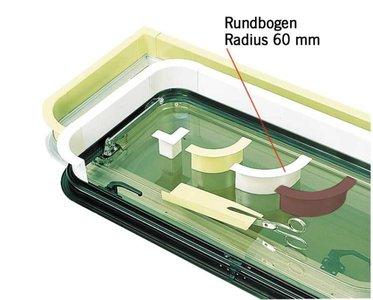 Raam binnenbekleding. Lichtgrijs - ronde boogradius 60 mm
